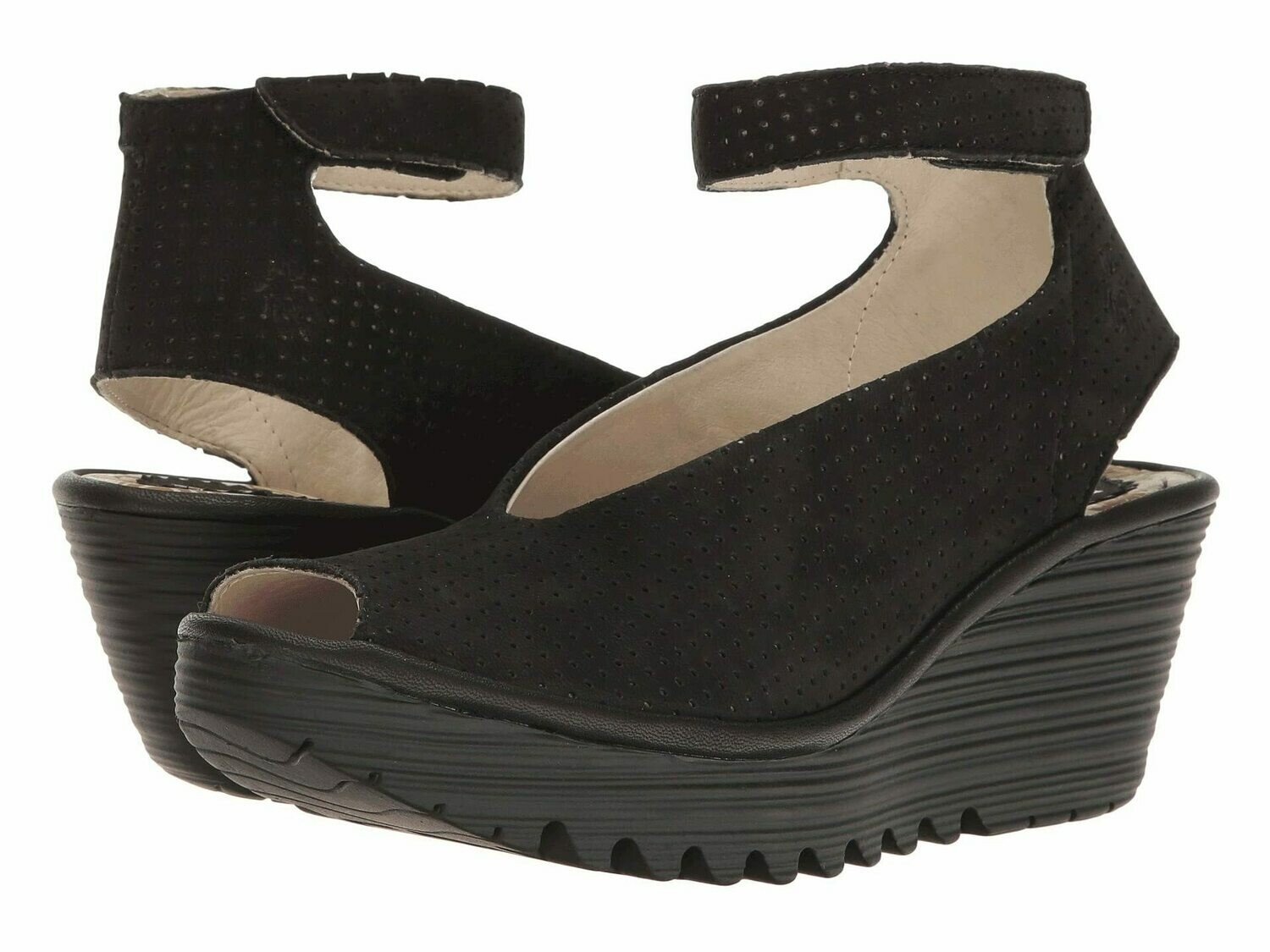 Yala Perf Black Wedge Sandal in Wide