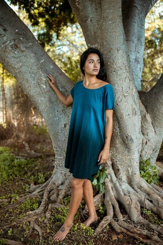 Cobalt Black Ombre Organic O/S Cotton Pocket Dress