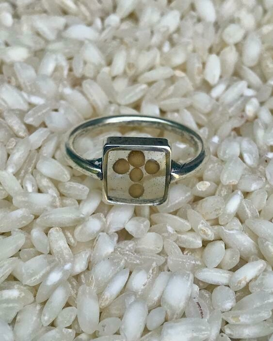 WP207 Petite Square Ring with Mustard Seed Cross