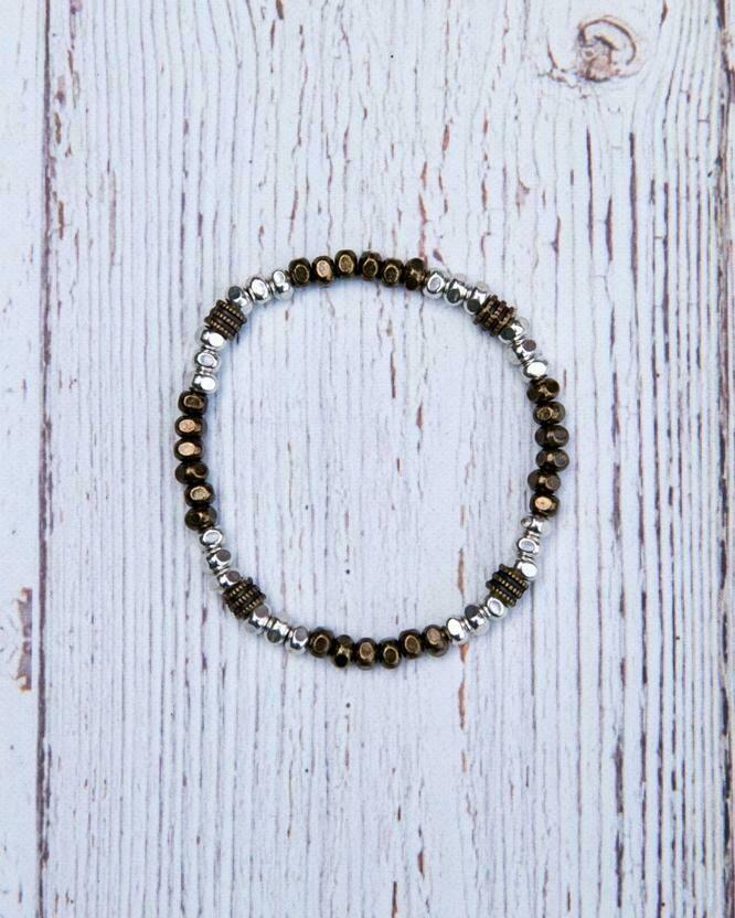 FDB58 Mixed Metal Stretch Bracelet