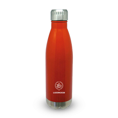 Trinkflasche Primo mit Logo, orange/chrom