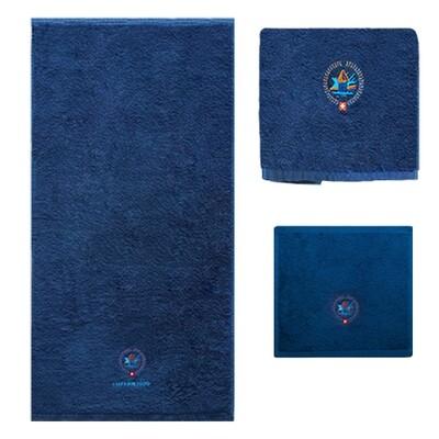 Badetuch-Set, 3-teilig, mit Logo bestickt, dark-royal