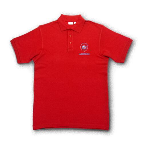 Polo-Shirt ESF 2020 mit Stickerei, rot