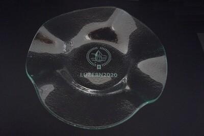 Früchteschale Glas rund Durchmesser  34 cm mit ESF Logo