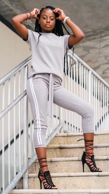Contrast Striped Trim Sweatsuit