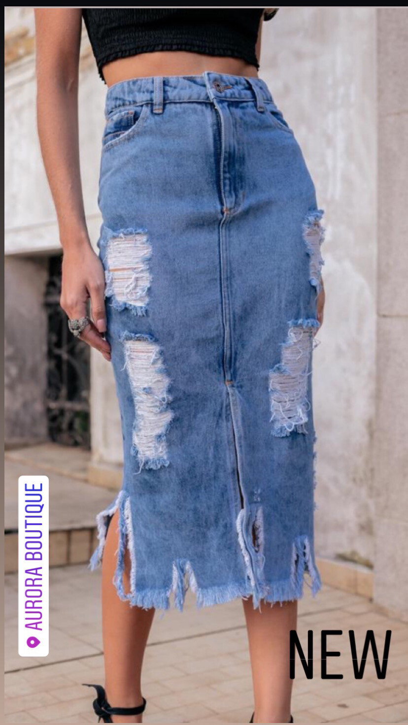 Long Ripped Jeans Skirt