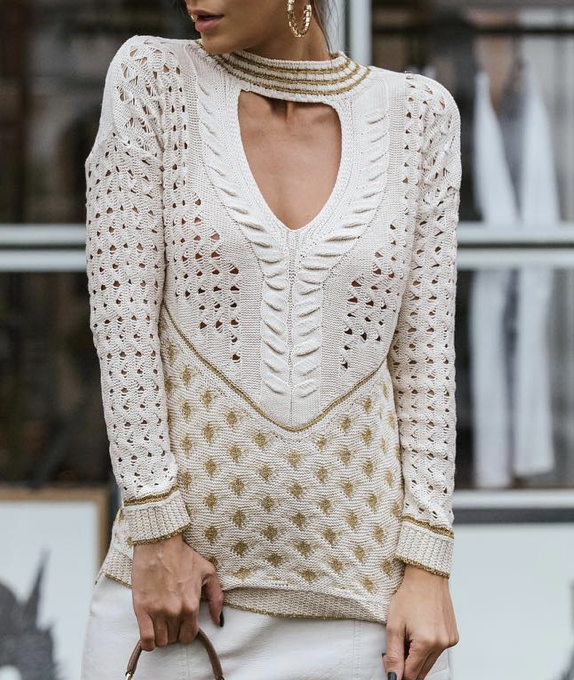Patterned Beige Tricot Sweater - One Size