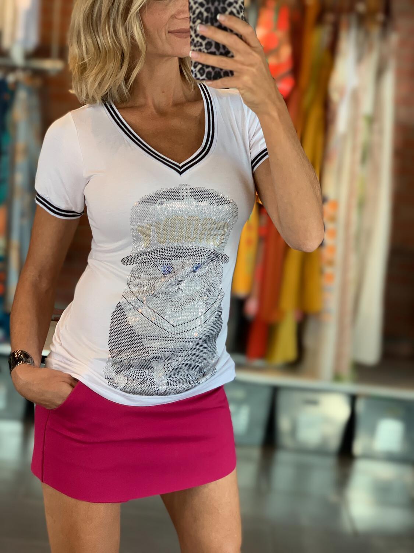 Rhinestone Cat Design T-Shirt