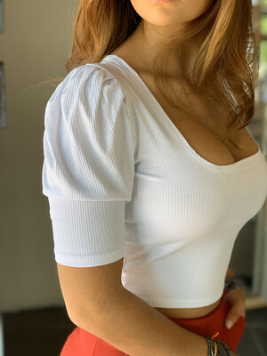 Ribbed Puff Sleeves Crop Top