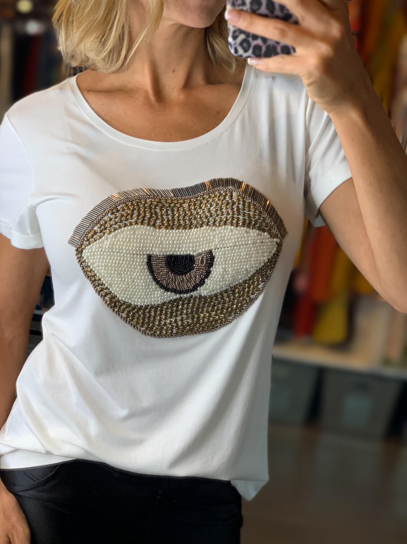 Hand Embroidered Greek Eye T-Shirt