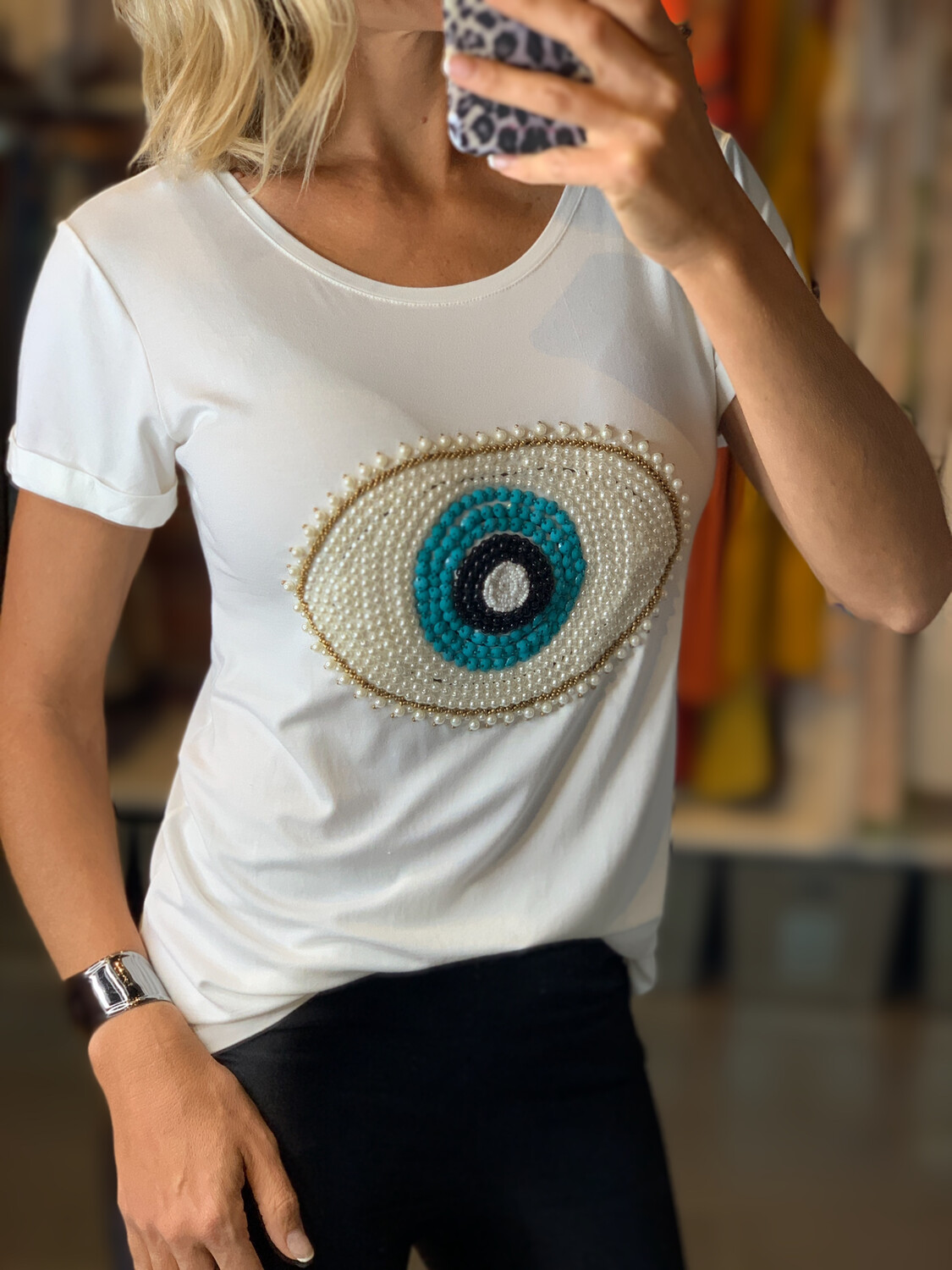 Hand Embroidered Greek Eye T-shirt (two colors)