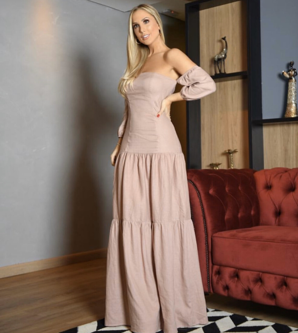 Soft Linen Mix Strapless Dress (3 Colors Available)