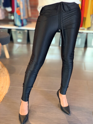 Shiny Boyfriend Black Tight Pants