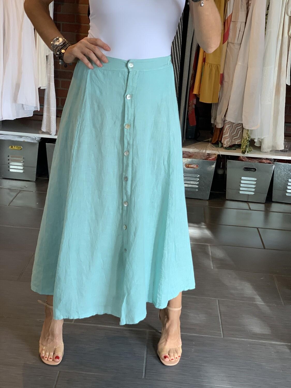 Buttoned Linen Skirt - green only