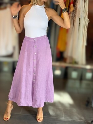 Buttoned Linen Skirt - One Size (5 Colors)