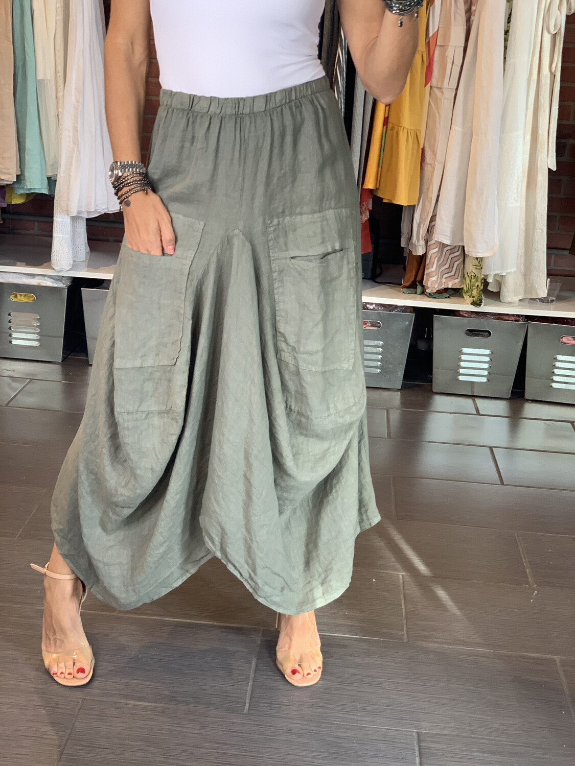 Linen Long Asymmetric Skirt - One Size (4 Colors)