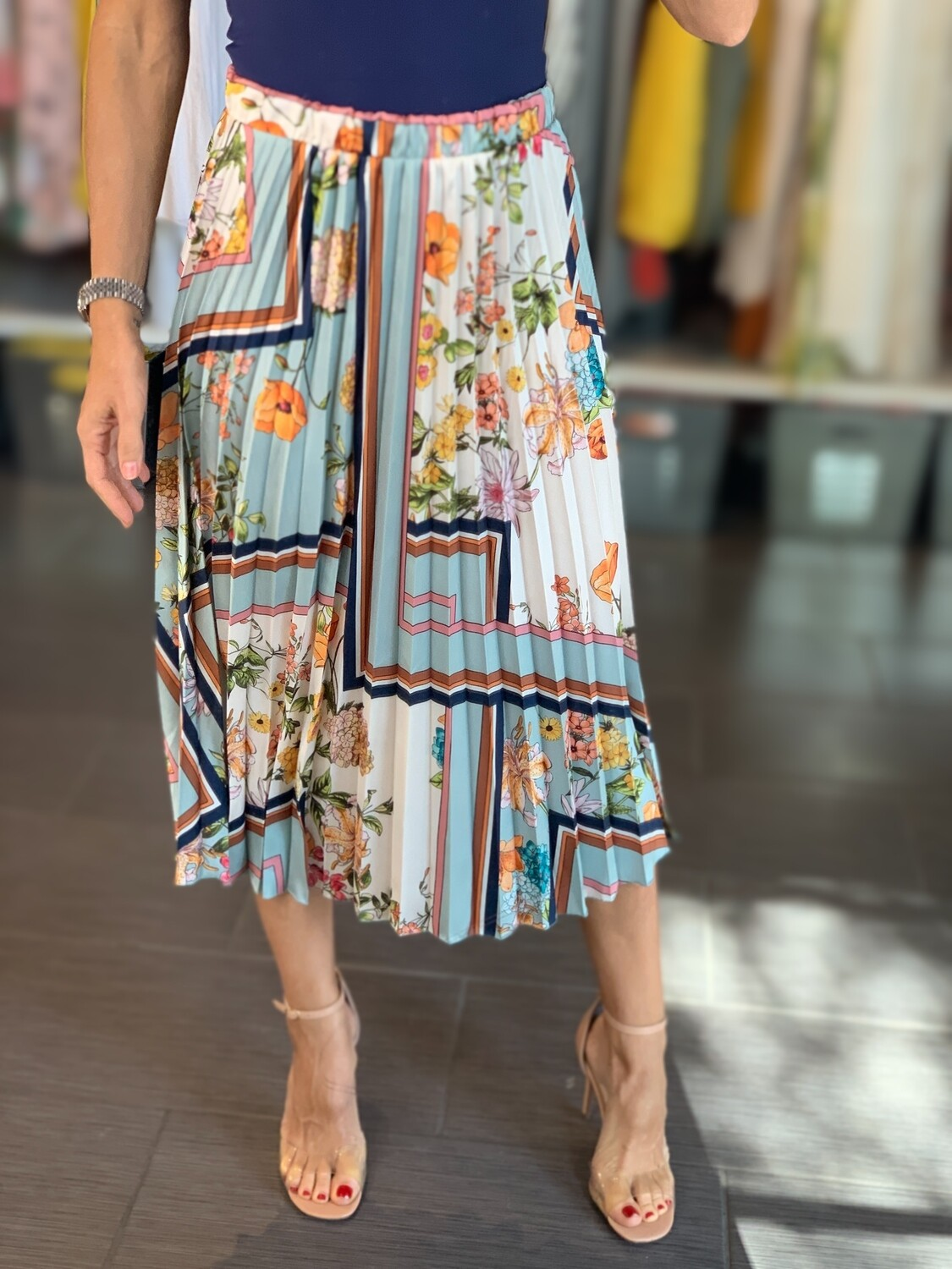 Pleated Floral Patterned Skirt - One Size