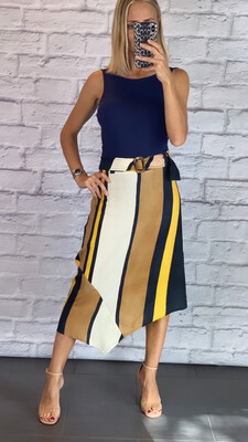 Asymmetric Striped Skirt