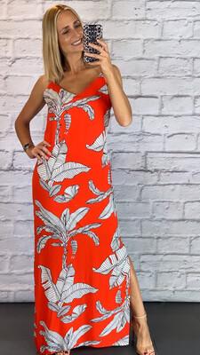 Orange Leaf Print Dress