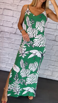 Green Leaf Print Dress