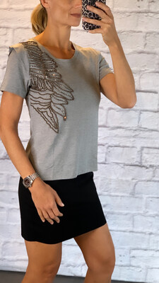 Hand Embroidered Gray T-Shirt