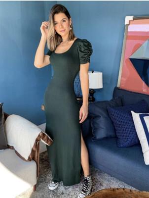 Ribbed Puff Sleeves Long Dress (3 Colors)