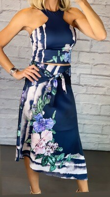 Navy Blue Floral Halter Top and Asymmetric Skirt SET