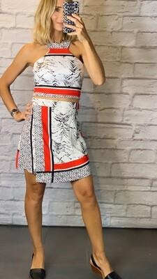 Asymmetric High Waisted Skirt and Halter Neck Too SET