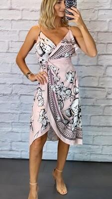Satin Floral Pink Dress