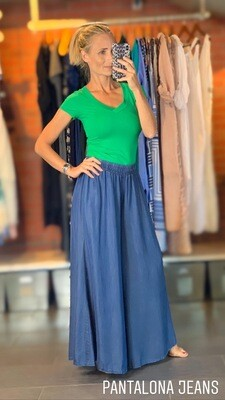 Lightweight Denim Wide Pants - One size.