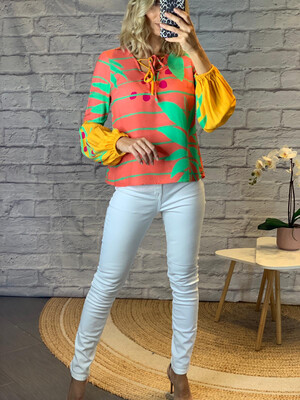 Puffy Sleeved Colorful Top