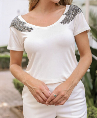 Hand Embroidered Wing T-Shirt