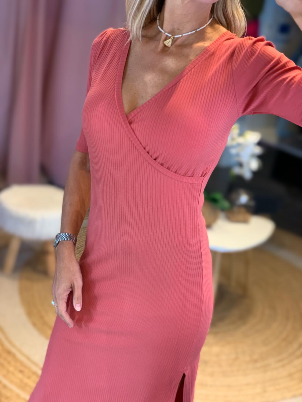 Terracota Ribbed Midi Dress