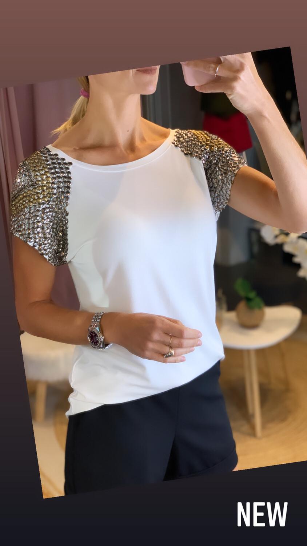 Shoulder Hand Embroidered T-Shirt
