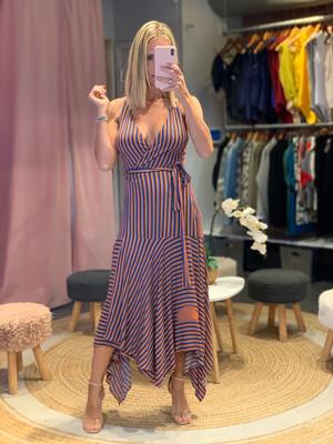 Stripe Envelope Asymmetric Dress