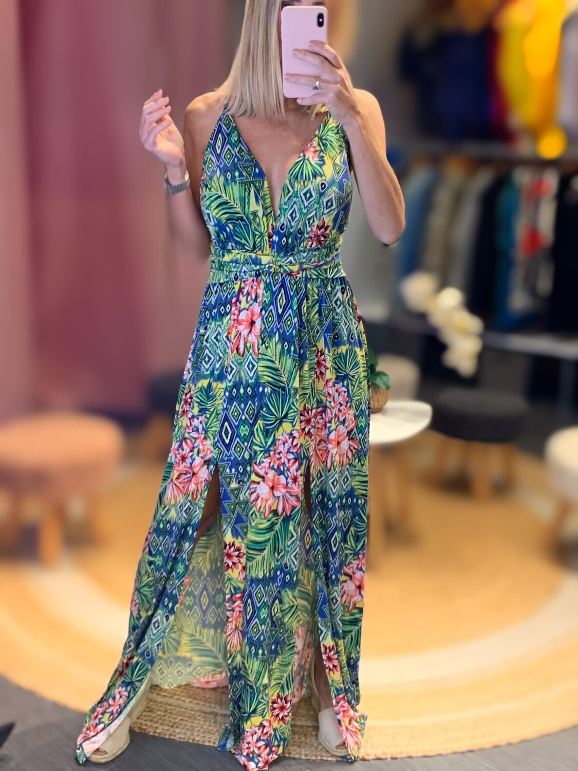 Floral One Size Fits all Long Dress