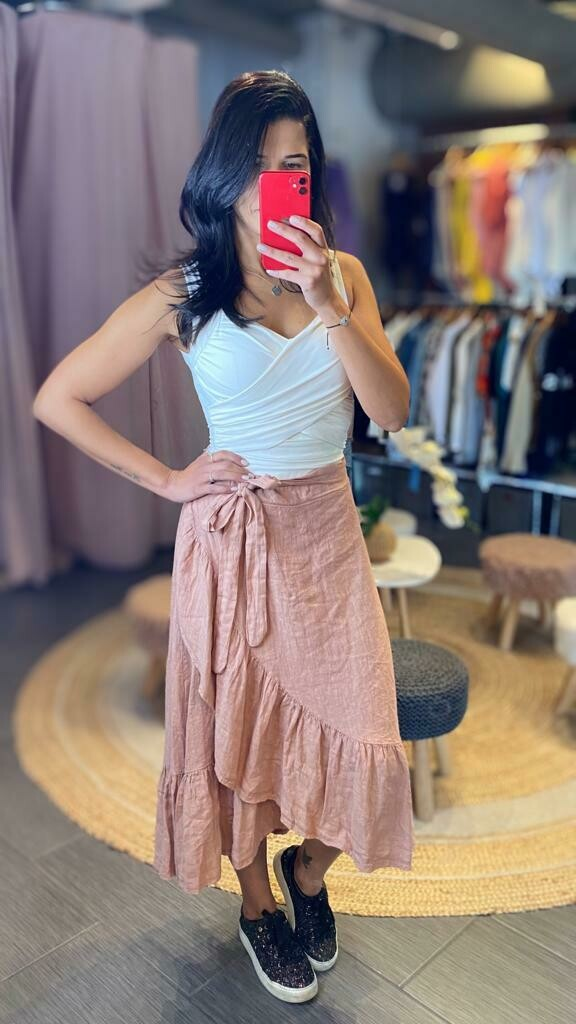 Linen Frill Skirt