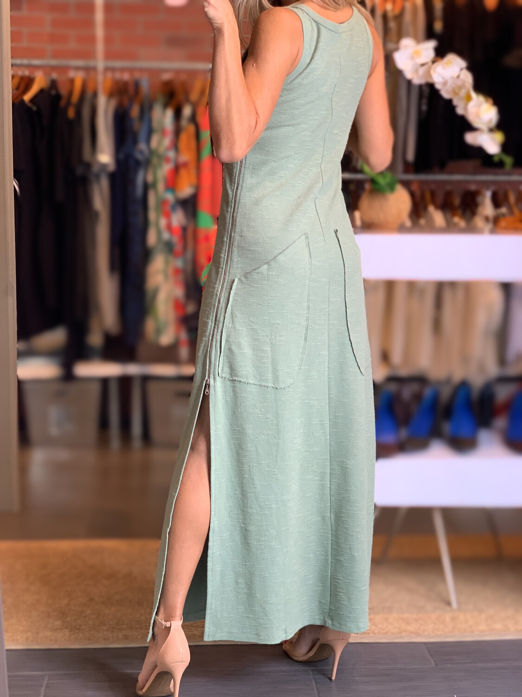 Big Pocket Long Green Dress