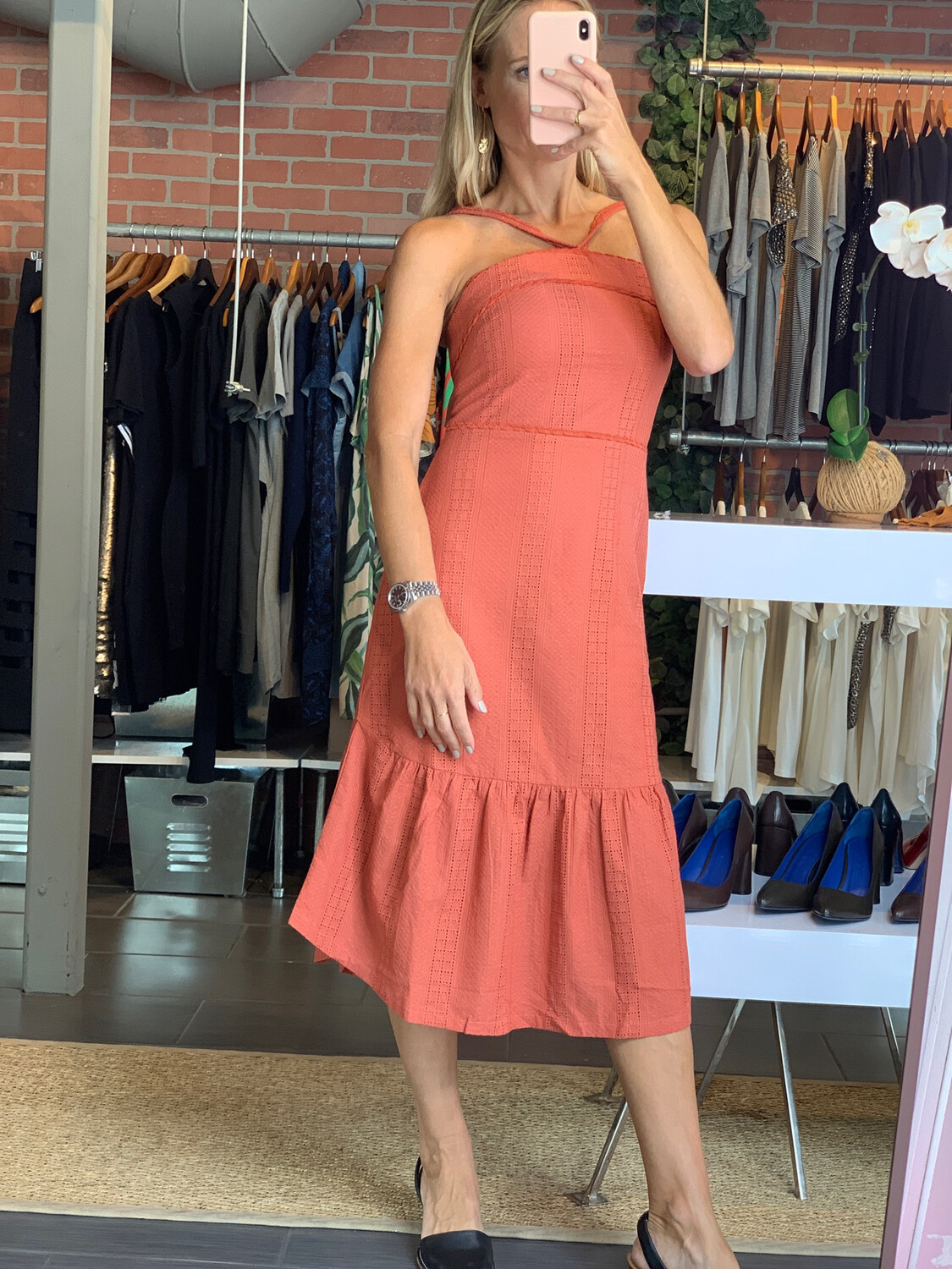 100% Cotton Orange Dress