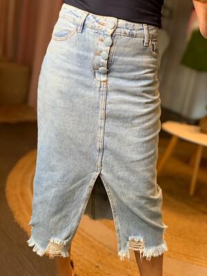 Denim Front-Slit Midi Skirt