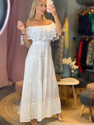 Raffle Off Shoulders White Dress
