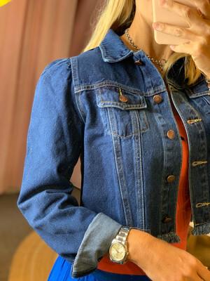 Puff Sleeve Dark Wash Jean Jacket