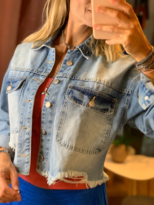 Drop Shoulder Distressed Denim Jacket