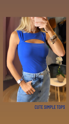 Blue Front Cut Out Tank Top