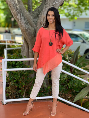 Linen Top With Silk Bottom (Necklace)