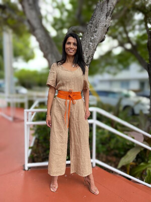 Over Sized Linen Jumpsuit With Pockets