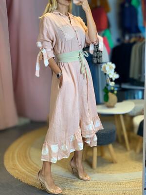 Blush Ruffled Linen Dress/Cover Up