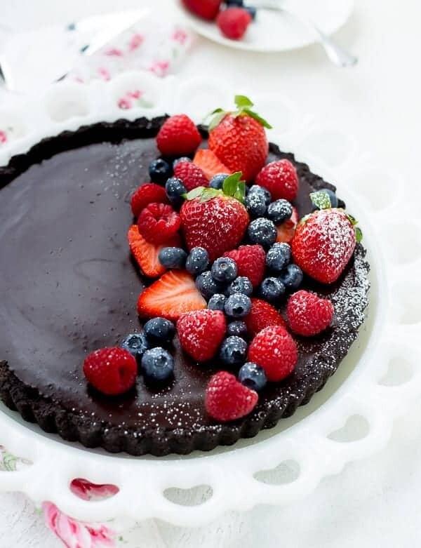 Tarta cu ciocolata si mix de fructe