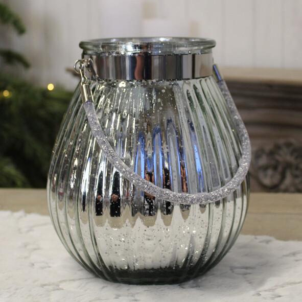 Windlicht zilver met handvat