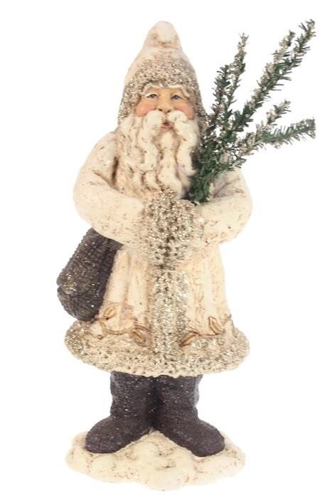Kerstman met glitter en boom